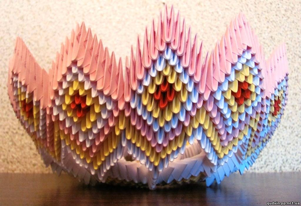 Модульное оригами сборка конфетницы